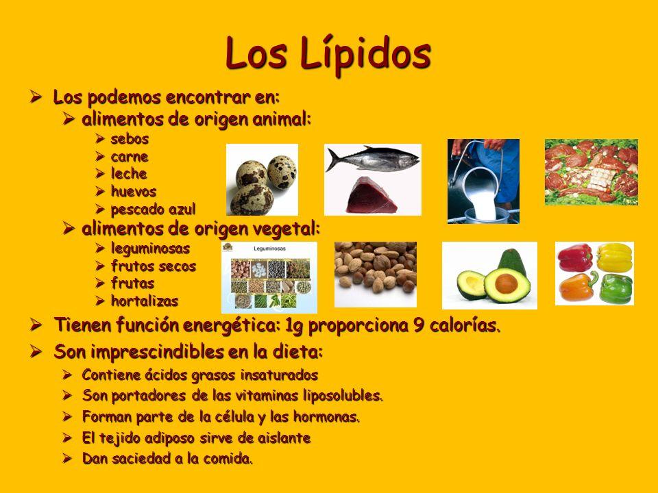 Los Lípidos Los podemos encontrar en: alimentos de origen animal: