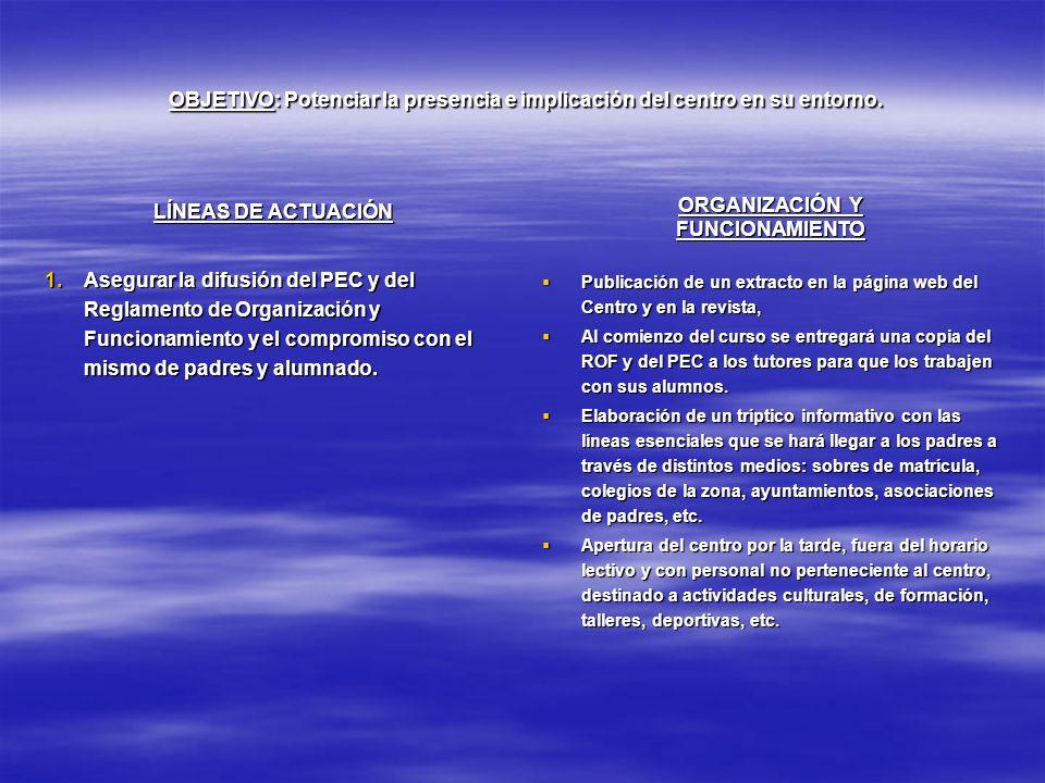 OBJETIVO: Potenciar la presencia e implicación del centro en su entorno.