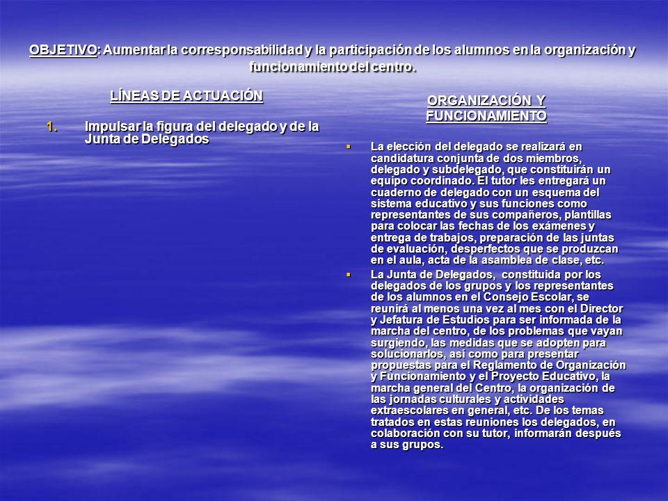 LÍNEAS DE ACTUACIÓN ORGANIZACIÓN Y FUNCIONAMIENTO