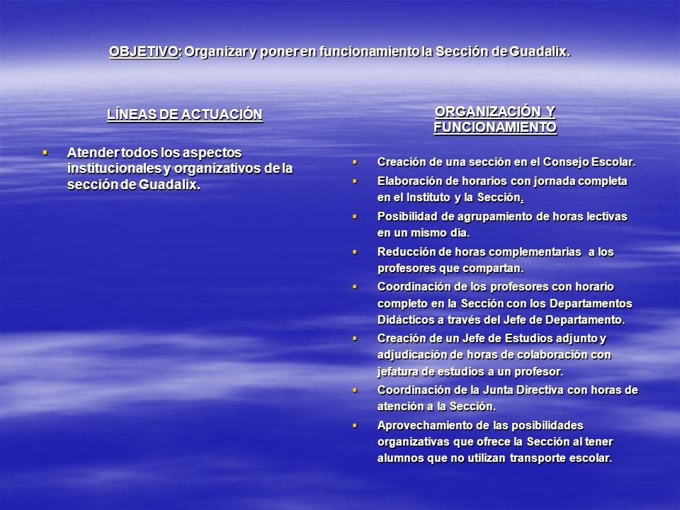 OBJETIVO: Organizar y poner en funcionamiento la Sección de Guadalix.
