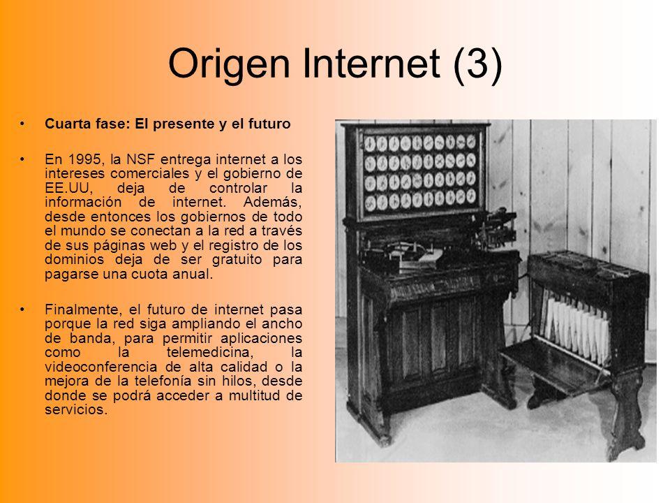 Origen Internet (3) Cuarta fase: El presente y el futuro
