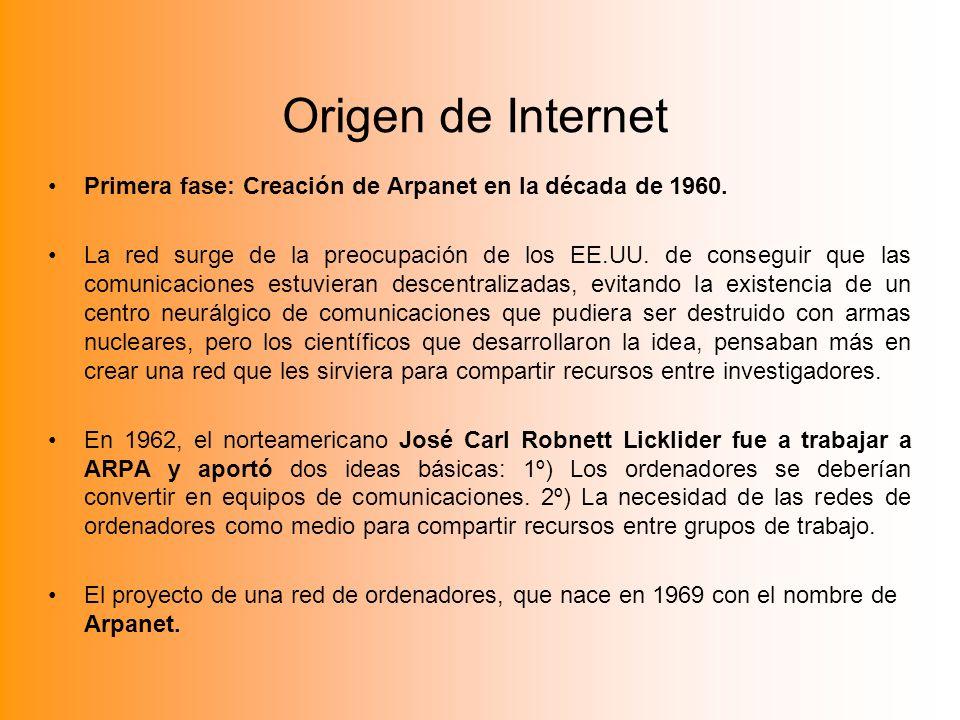 Origen de InternetPrimera fase: Creación de Arpanet en la década de 1960.