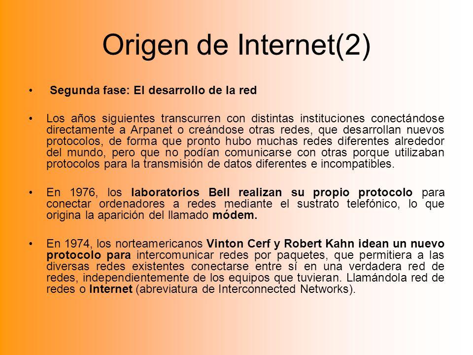 Origen de Internet(2) Segunda fase: El desarrollo de la red