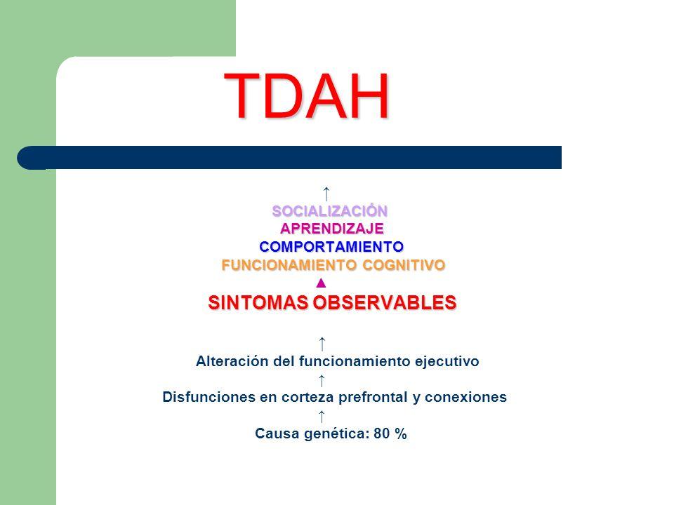 TDAH ↑ SOCIALIZACIÓN APRENDIZAJE COMPORTAMIENTO