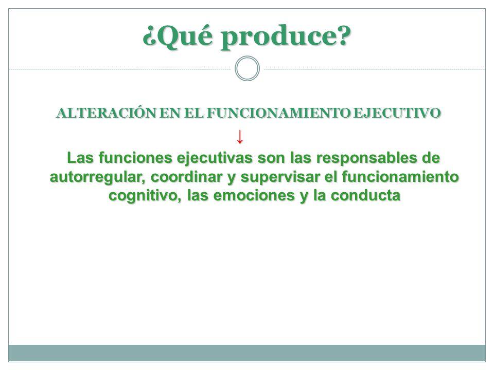 ¿Qué produce ALTERACIÓN EN EL FUNCIONAMIENTO EJECUTIVO. ↓
