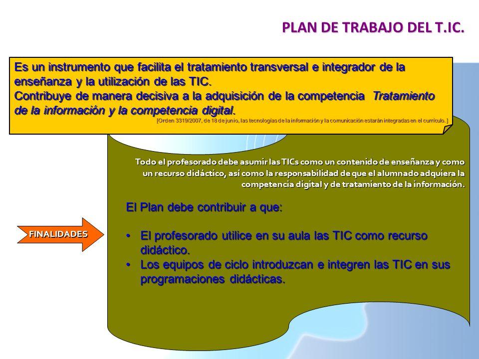 PLAN DE TRABAJO DEL T.IC. Es un instrumento que facilita el tratamiento transversal e integrador de la enseñanza y la utilización de las TIC.
