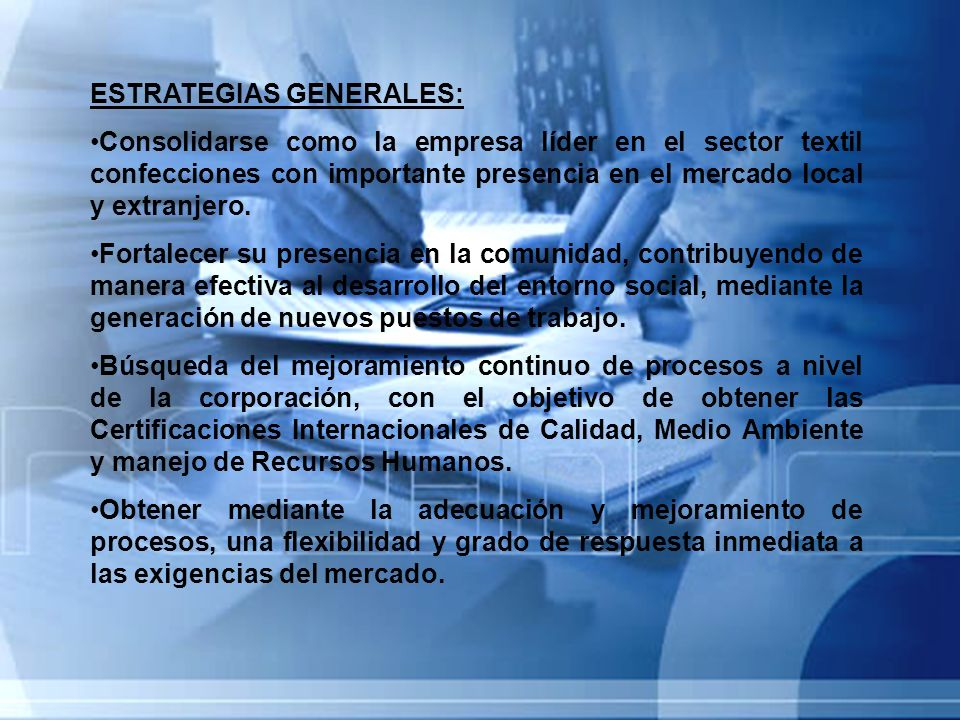 ESTRATEGIAS GENERALES: