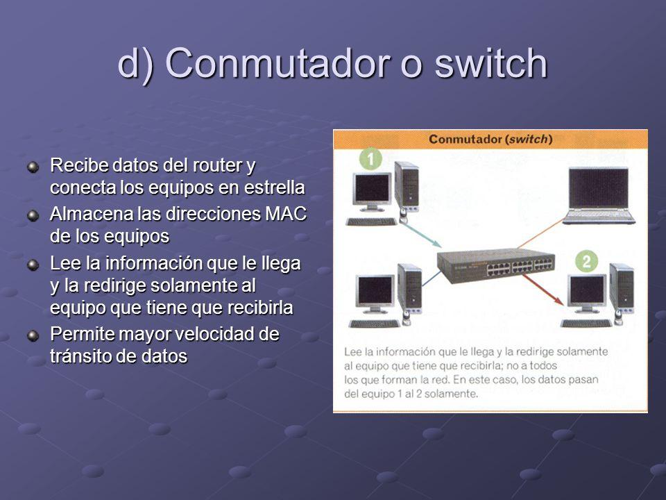 d) Conmutador o switch Recibe datos del router y conecta los equipos en estrella. Almacena las direcciones MAC de los equipos.