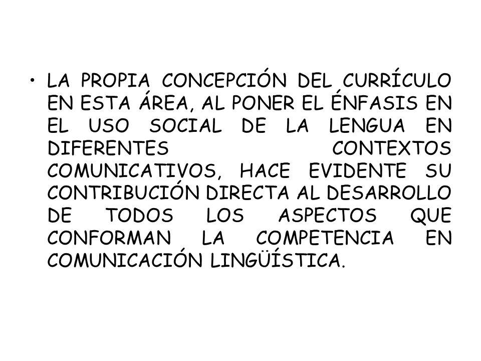 LA PROPIA CONCEPCIÓN DEL CURRÍCULO EN ESTA ÁREA, AL PONER EL ÉNFASIS EN EL USO SOCIAL DE LA LENGUA EN DIFERENTES CONTEXTOS COMUNICATIVOS, HACE EVIDENTE SU CONTRIBUCIÓN DIRECTA AL DESARROLLO DE TODOS LOS ASPECTOS QUE CONFORMAN LA COMPETENCIA EN COMUNICACIÓN LINGÜÍSTICA.