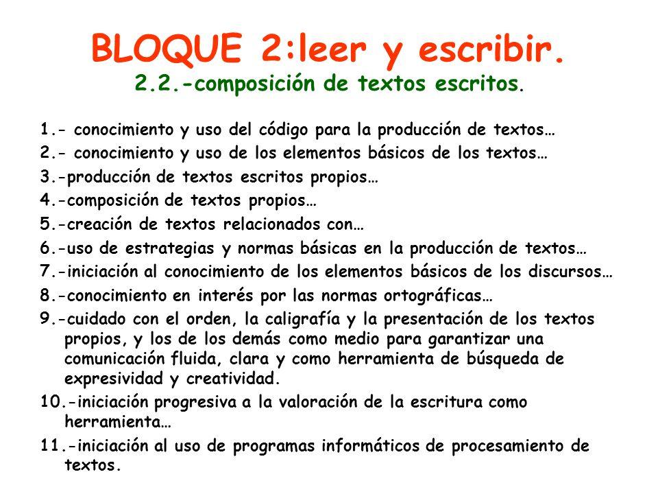 BLOQUE 2:leer y escribir. 2.2.-composición de textos escritos.