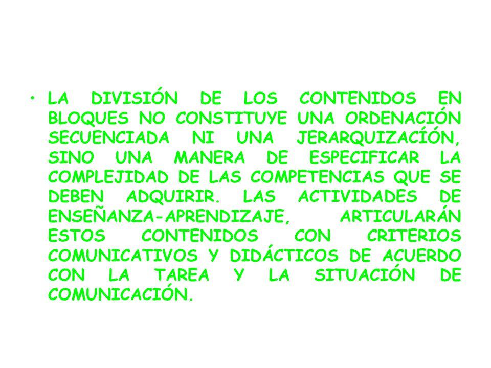 LA DIVISIÓN DE LOS CONTENIDOS EN BLOQUES NO CONSTITUYE UNA ORDENACIÓN SECUENCIADA NI UNA JERARQUIZACÍÓN, SINO UNA MANERA DE ESPECIFICAR LA COMPLEJIDAD DE LAS COMPETENCIAS QUE SE DEBEN ADQUIRIR.