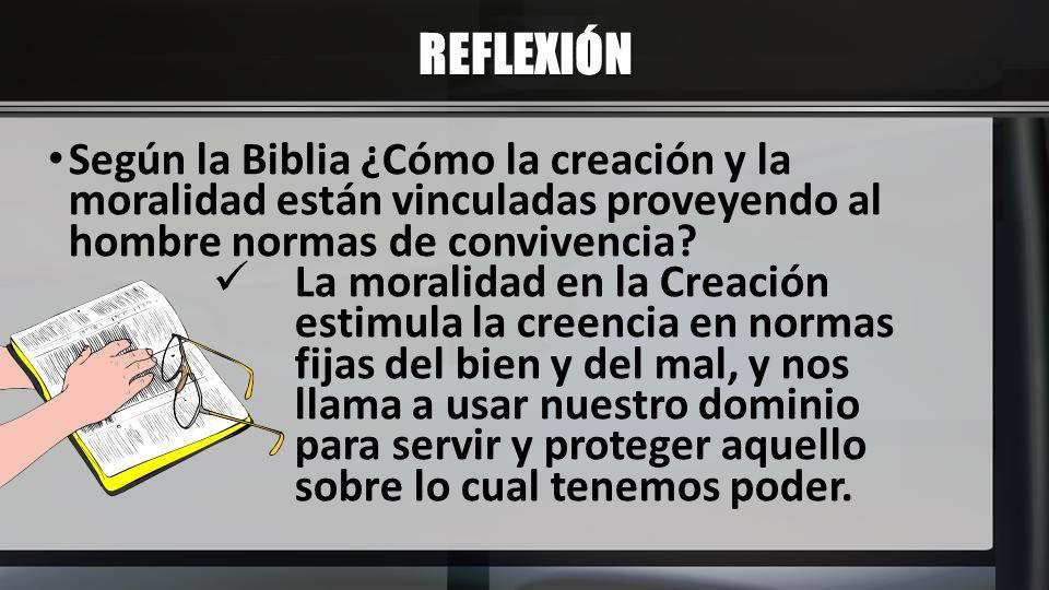 REFLEXIÓN Según la Biblia ¿Cómo la creación y la moralidad están vinculadas proveyendo al hombre normas de convivencia