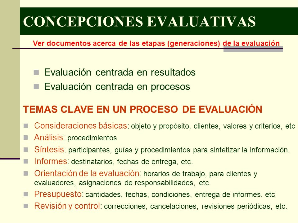 CONCEPCIONES EVALUATIVAS