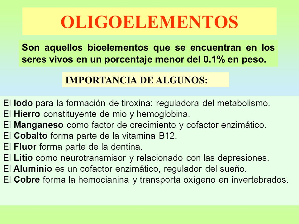 OLIGOELEMENTOS IMPORTANCIA DE ALGUNOS: