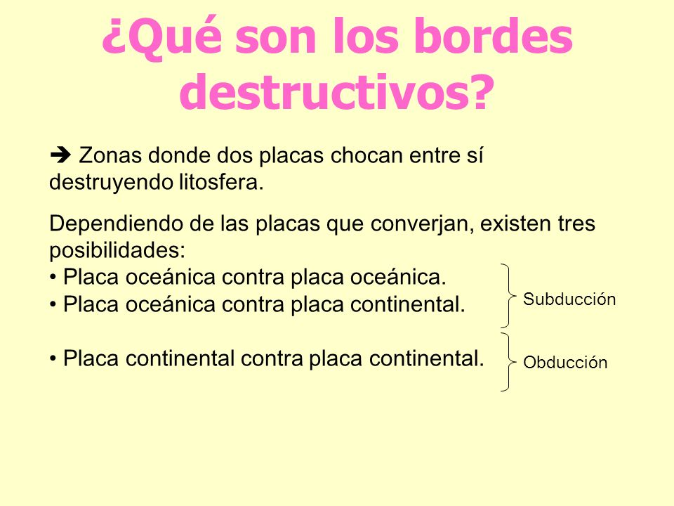 ¿Qué son los bordes destructivos