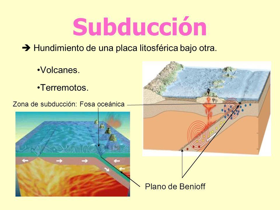 Subducción  Hundimiento de una placa litosférica bajo otra. Volcanes.