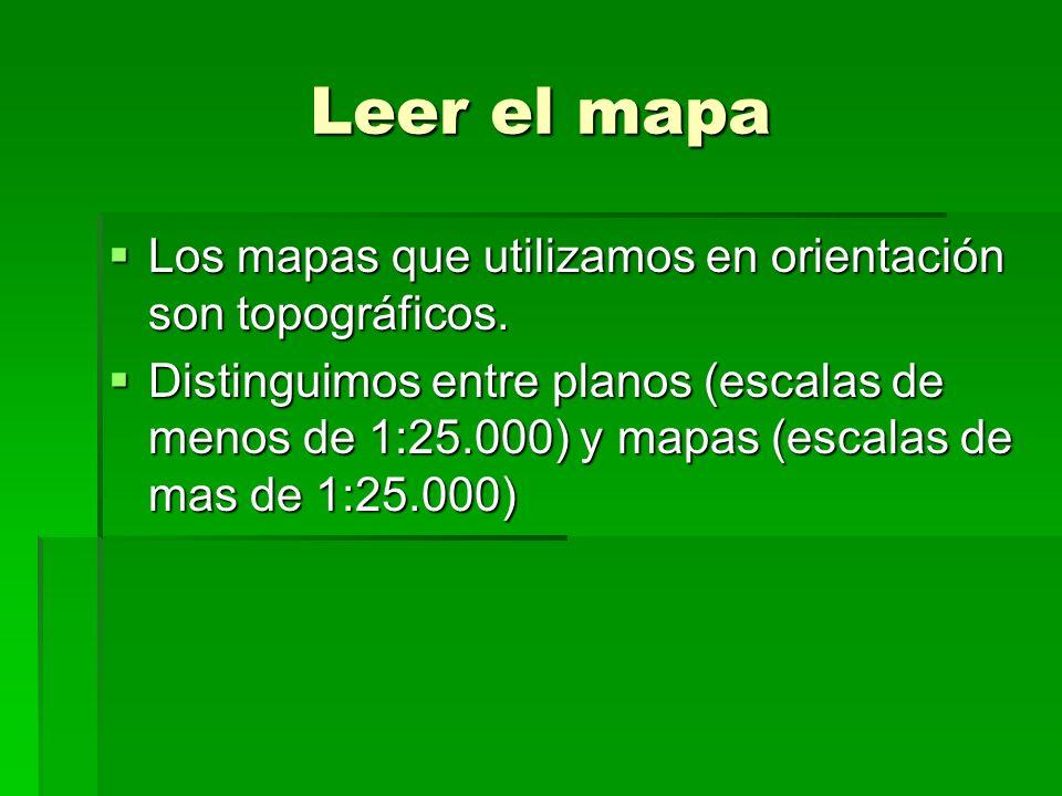 Leer el mapa Los mapas que utilizamos en orientación son topográficos.