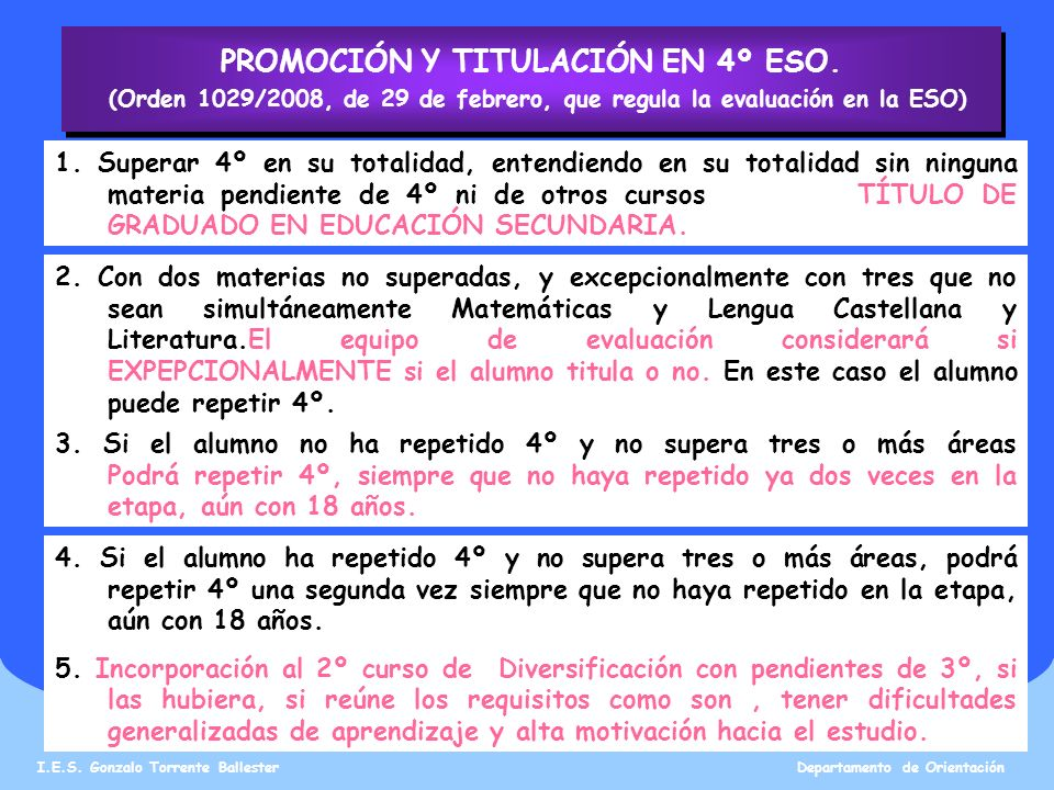 PROMOCIÓN Y TITULACIÓN EN 4º ESO.