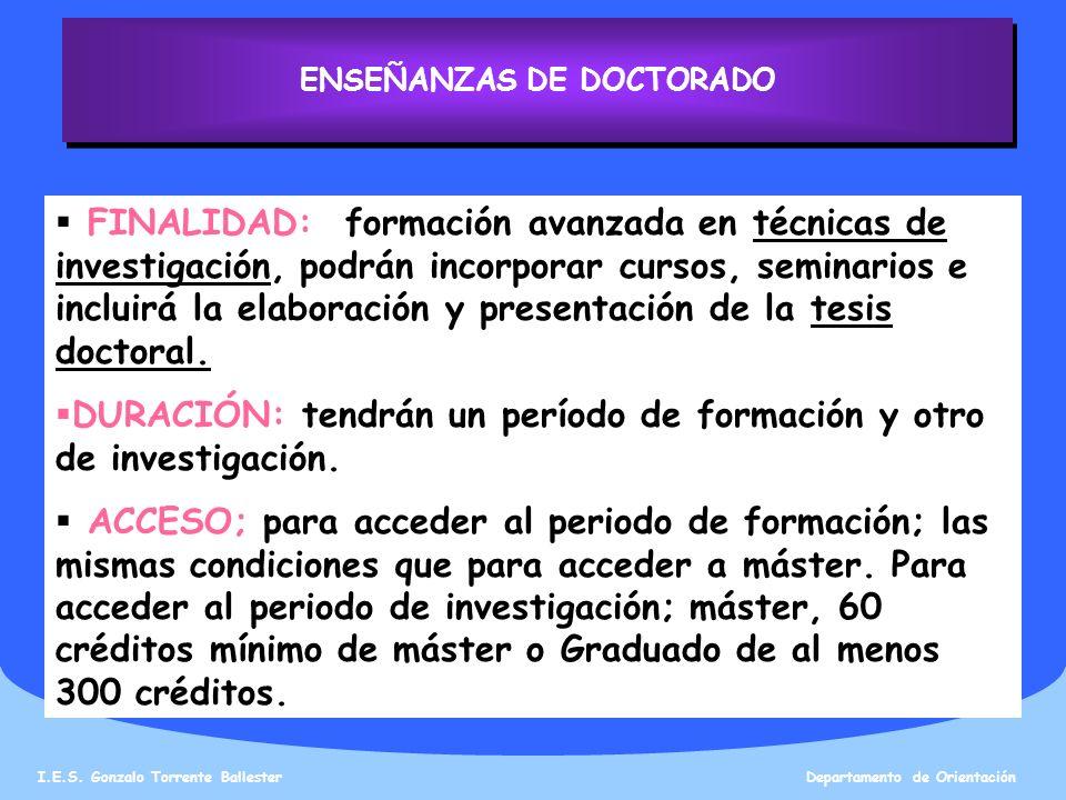 ENSEÑANZAS DE DOCTORADO