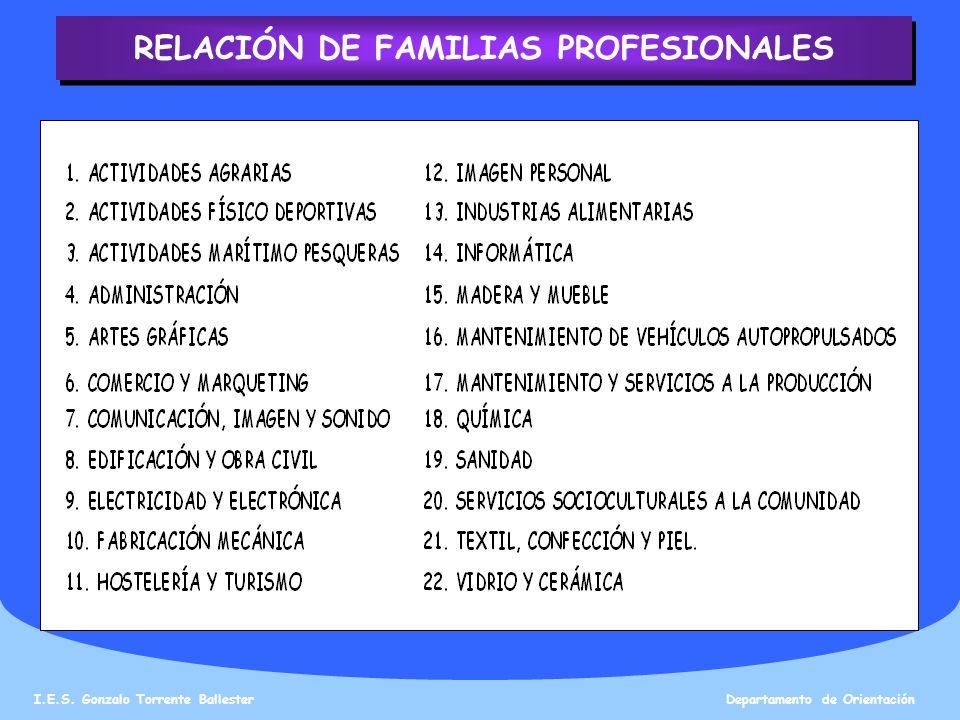 RELACIÓN DE FAMILIAS PROFESIONALES