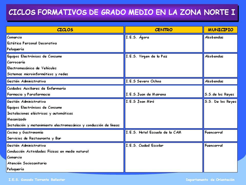 CICLOS FORMATIVOS DE GRADO MEDIO EN LA ZONA NORTE I