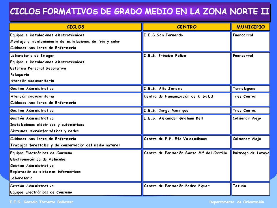 CICLOS FORMATIVOS DE GRADO MEDIO EN LA ZONA NORTE II