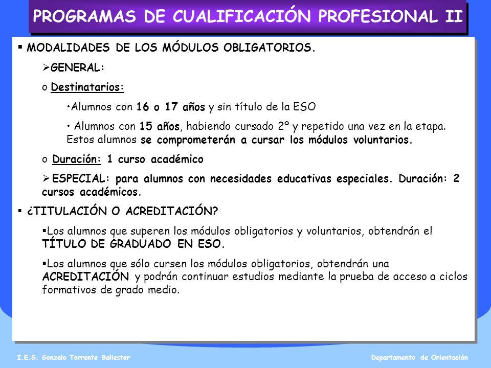 PROGRAMAS DE CUALIFICACIÓN PROFESIONAL II