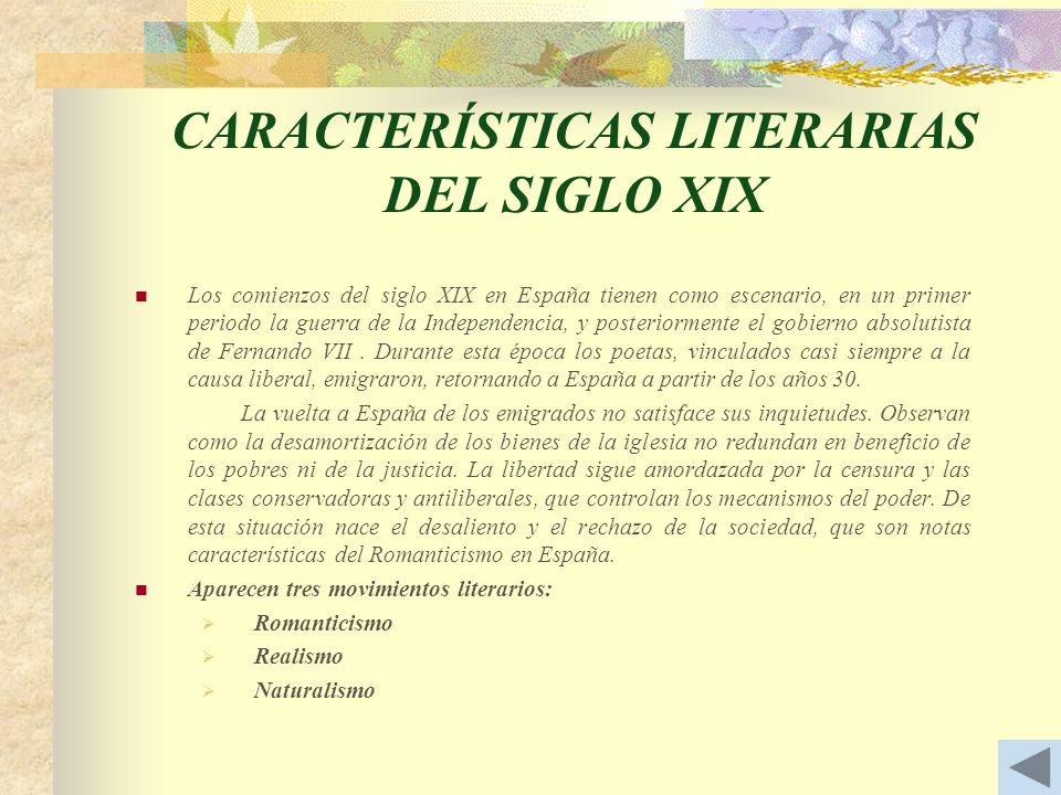 CARACTERÍSTICAS LITERARIAS DEL SIGLO XIX