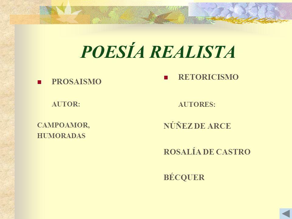 POESÍA REALISTA RETORICISMO PROSAISMO NÚÑEZ DE ARCE ROSALÍA DE CASTRO