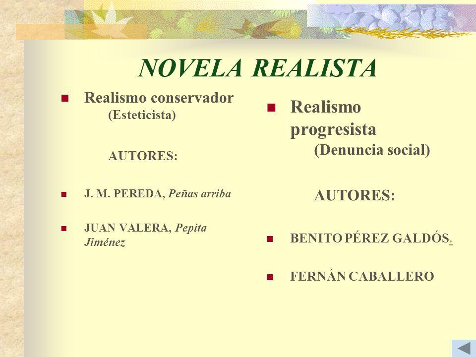 NOVELA REALISTA Realismo progresista (Denuncia social)