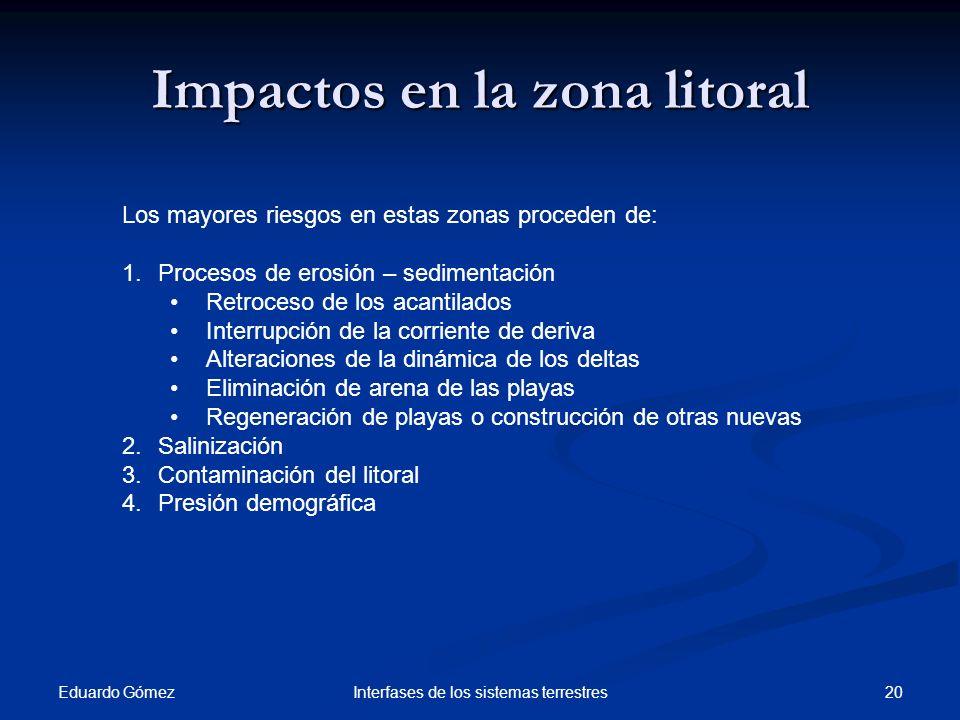 Impactos en la zona litoral
