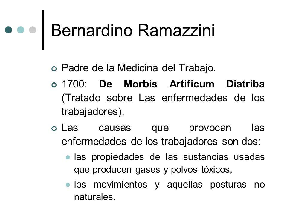 Bernardino Ramazzini Padre de la Medicina del Trabajo.