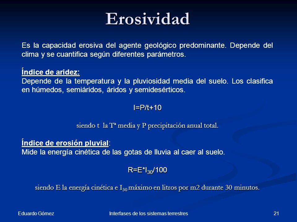 Erosividad Es la capacidad erosiva del agente geológico predominante. Depende del clima y se cuantifica según diferentes parámetros.