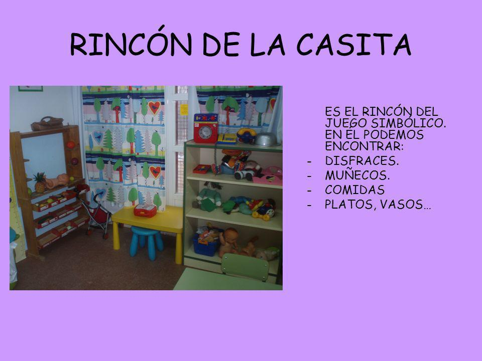 RINCÓN DE LA CASITA ES EL RINCÓN DEL JUEGO SIMBÓLICO. EN ÉL PODEMOS ENCONTRAR: DISFRACES. MUÑECOS.