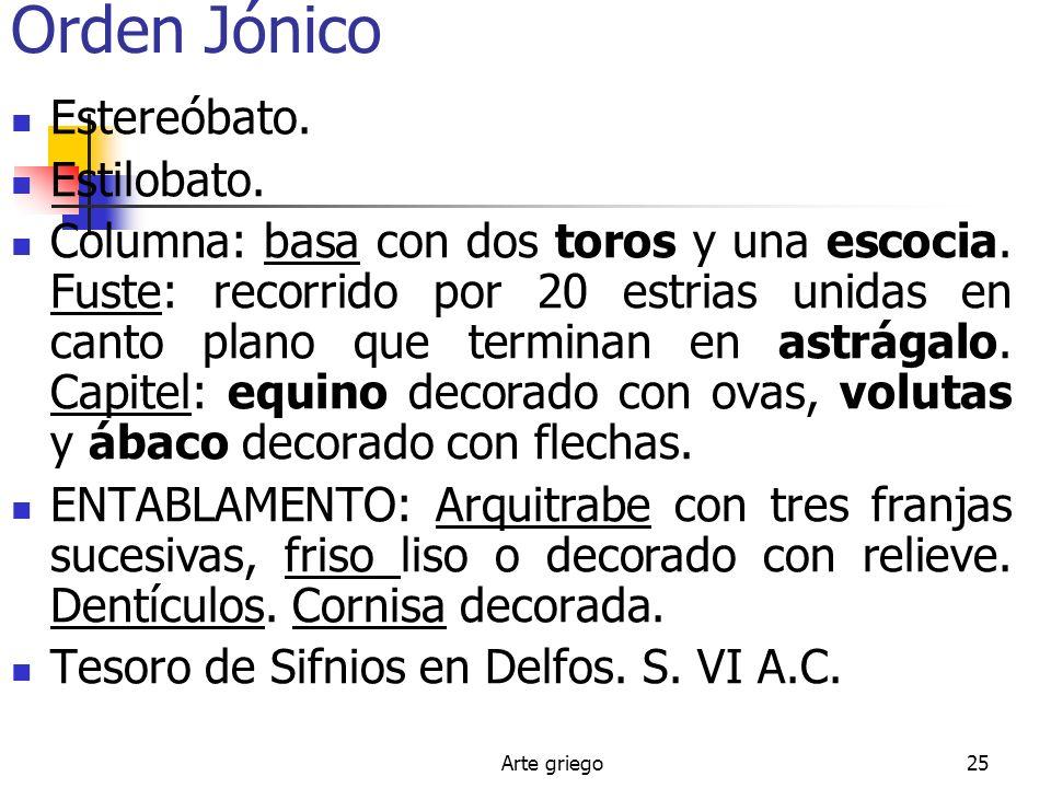 Orden Jónico Estereóbato. Estilobato.