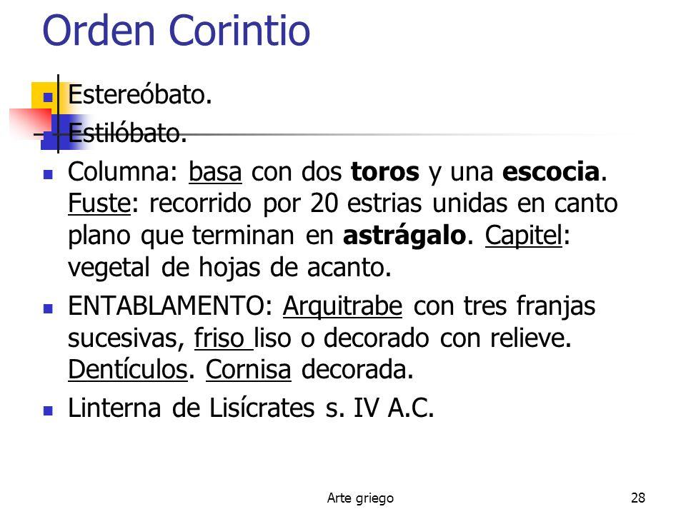 Orden Corintio Estereóbato. Estilóbato.