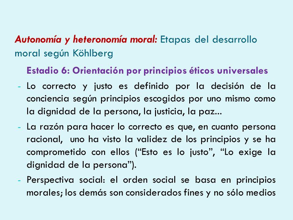 Autonomía y heteronomía moral: Etapas del desarrollo moral según Köhlberg