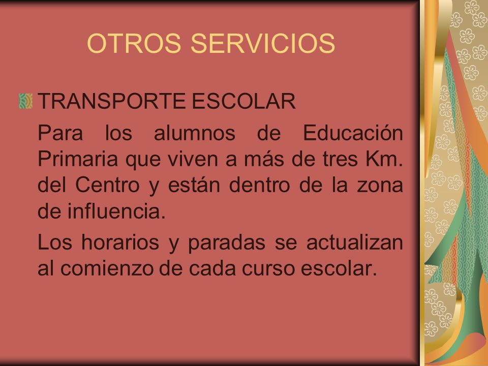 OTROS SERVICIOS TRANSPORTE ESCOLAR