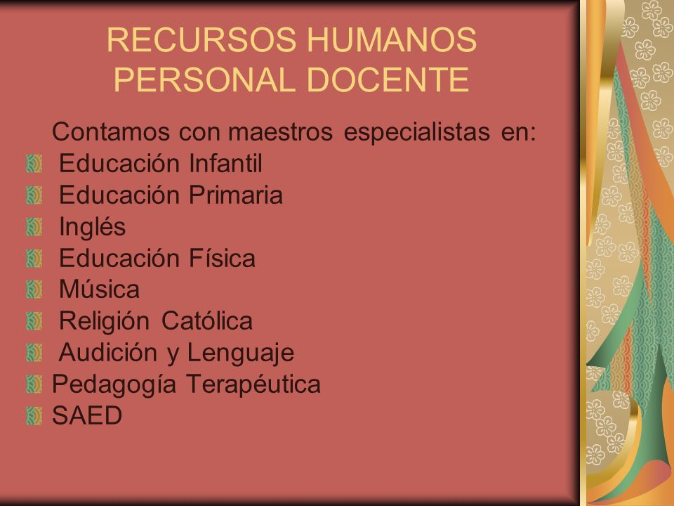 RECURSOS HUMANOS PERSONAL DOCENTE
