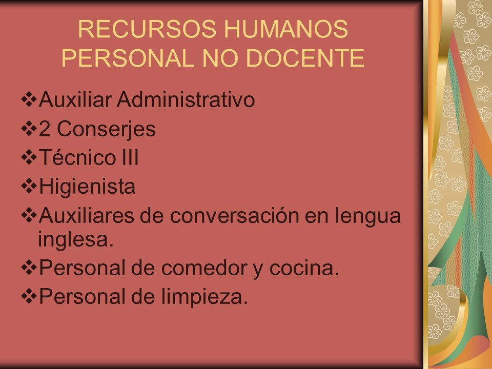 RECURSOS HUMANOS PERSONAL NO DOCENTE