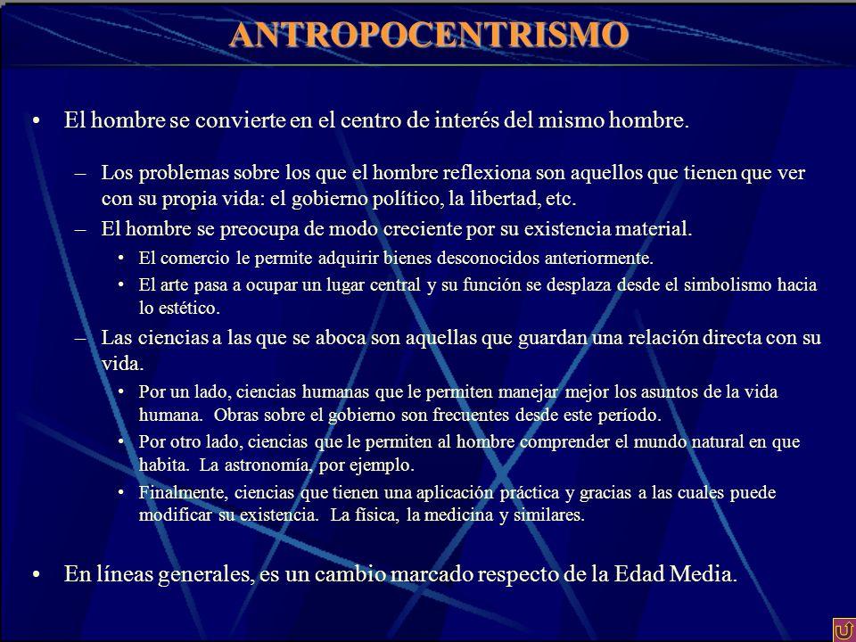 ANTROPOCENTRISMO El hombre se convierte en el centro de interés del mismo hombre.