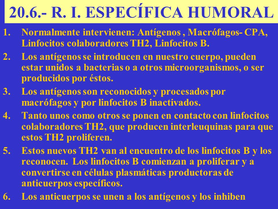 20.6.- R. I. ESPECÍFICA HUMORAL