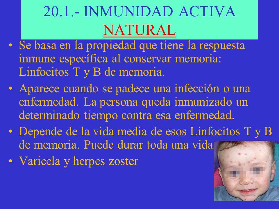 20.1.- INMUNIDAD ACTIVA NATURAL