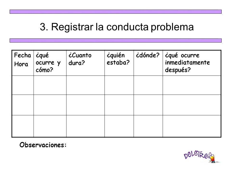 3. Registrar la conducta problema