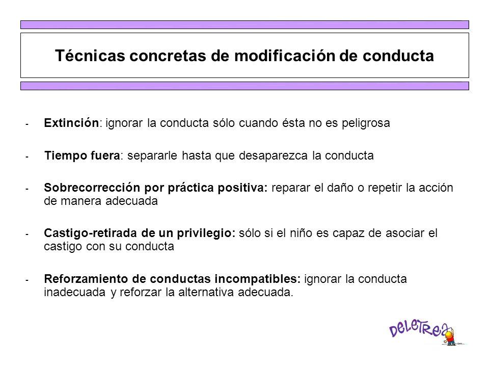 Técnicas concretas de modificación de conducta