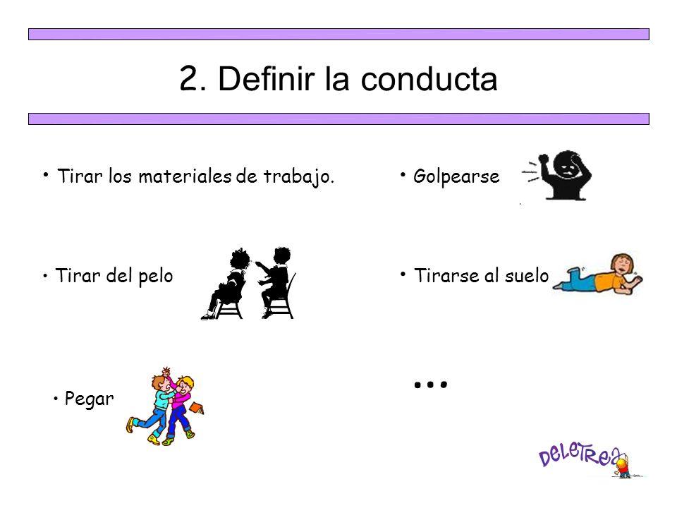 … 2. Definir la conducta Tirar los materiales de trabajo. Golpearse