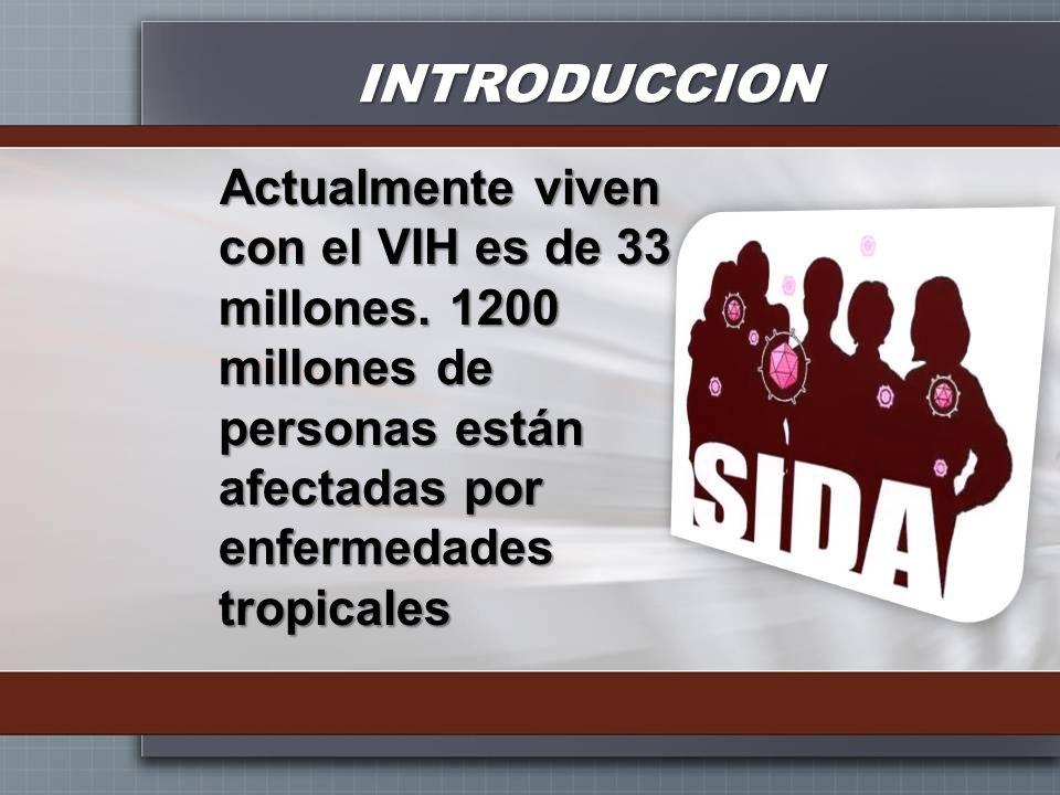 INTRODUCCION Actualmente viven con el VIH es de 33 millones.