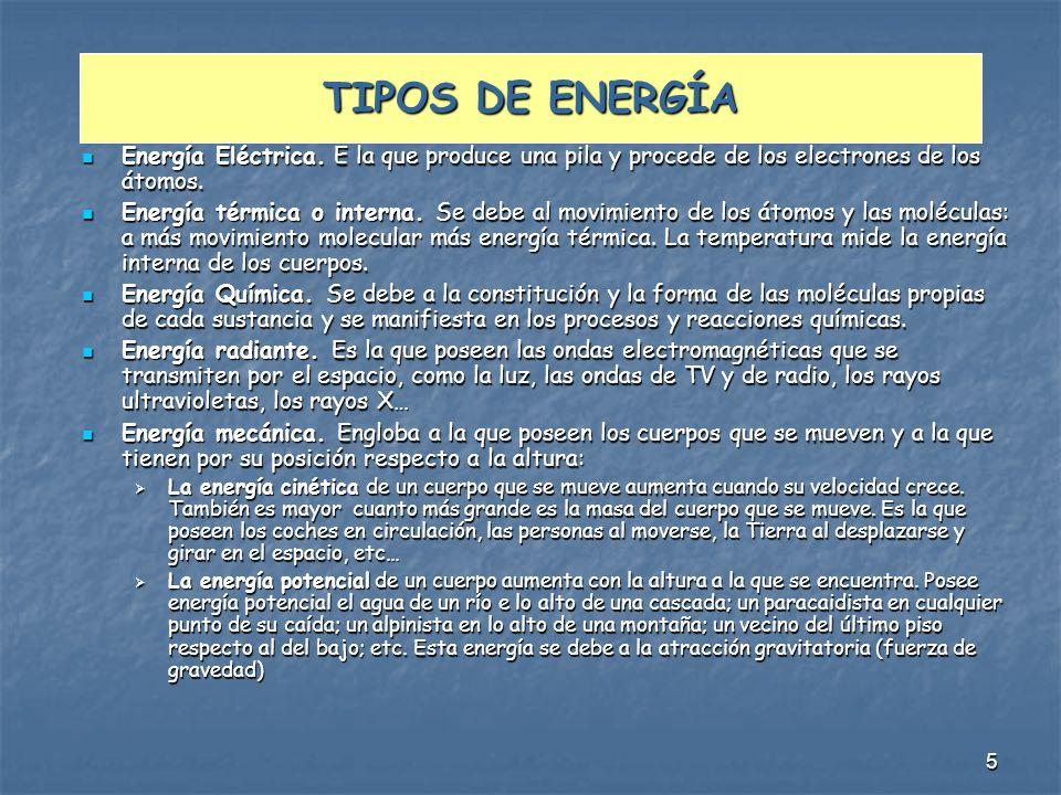TIPOS DE ENERGÍA Energía Eléctrica. E la que produce una pila y procede de los electrones de los átomos.