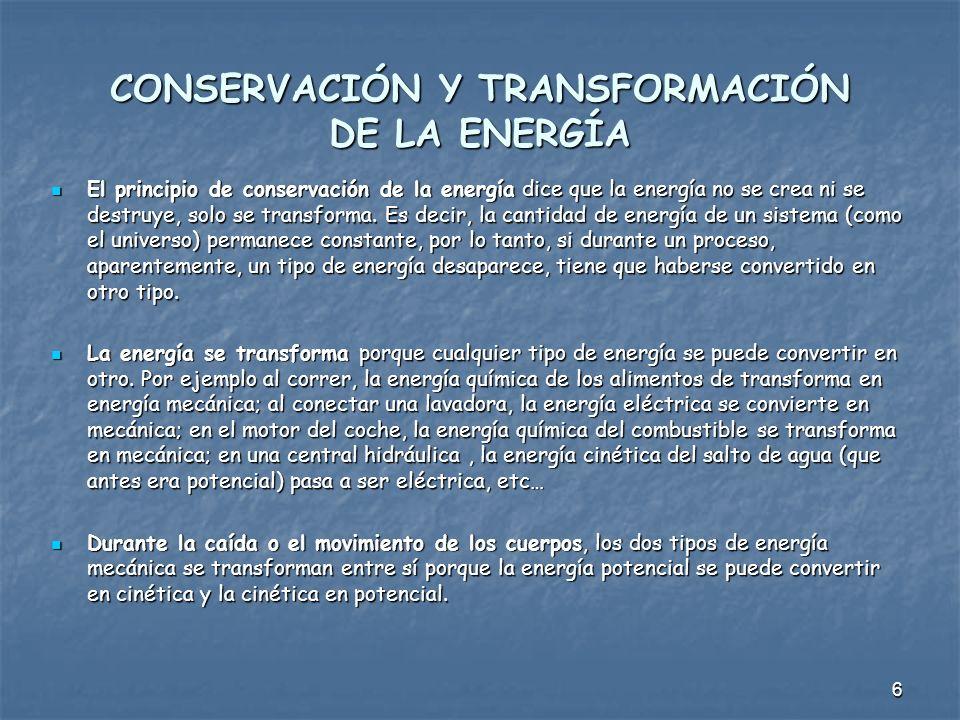 CONSERVACIÓN Y TRANSFORMACIÓN DE LA ENERGÍA