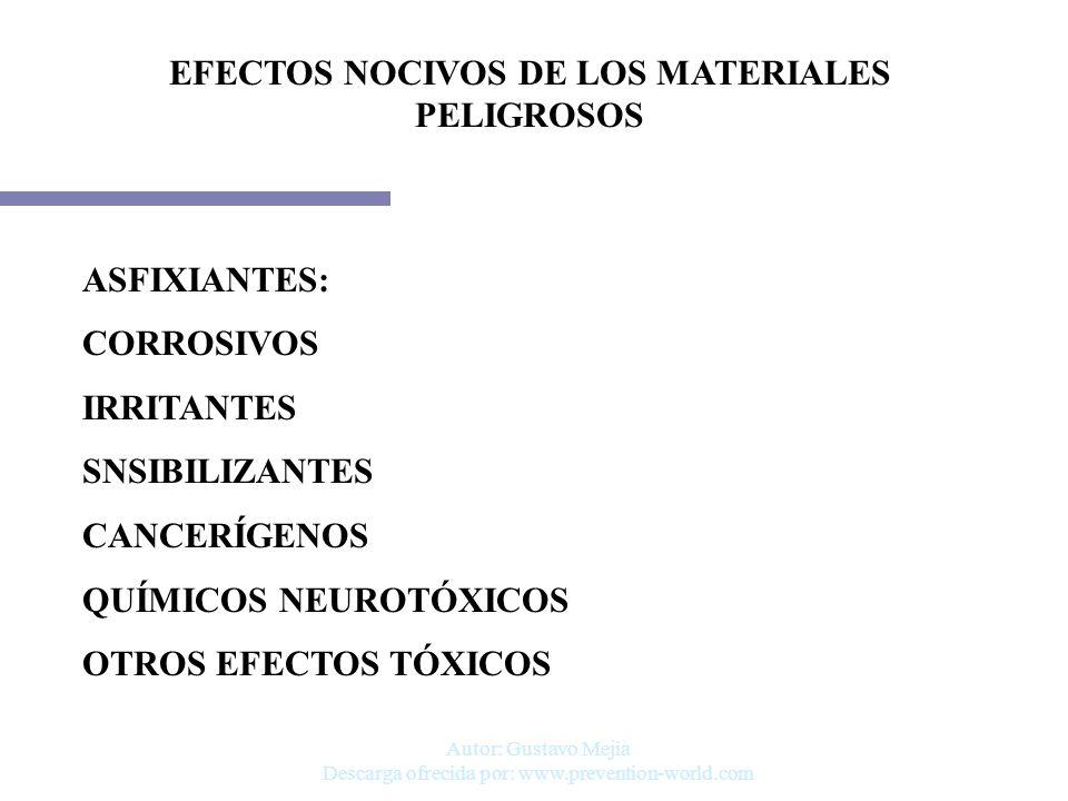 EFECTOS NOCIVOS DE LOS MATERIALES PELIGROSOS